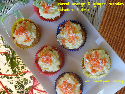 Carrot orange & ginger cupacakes with mascarpone frosting