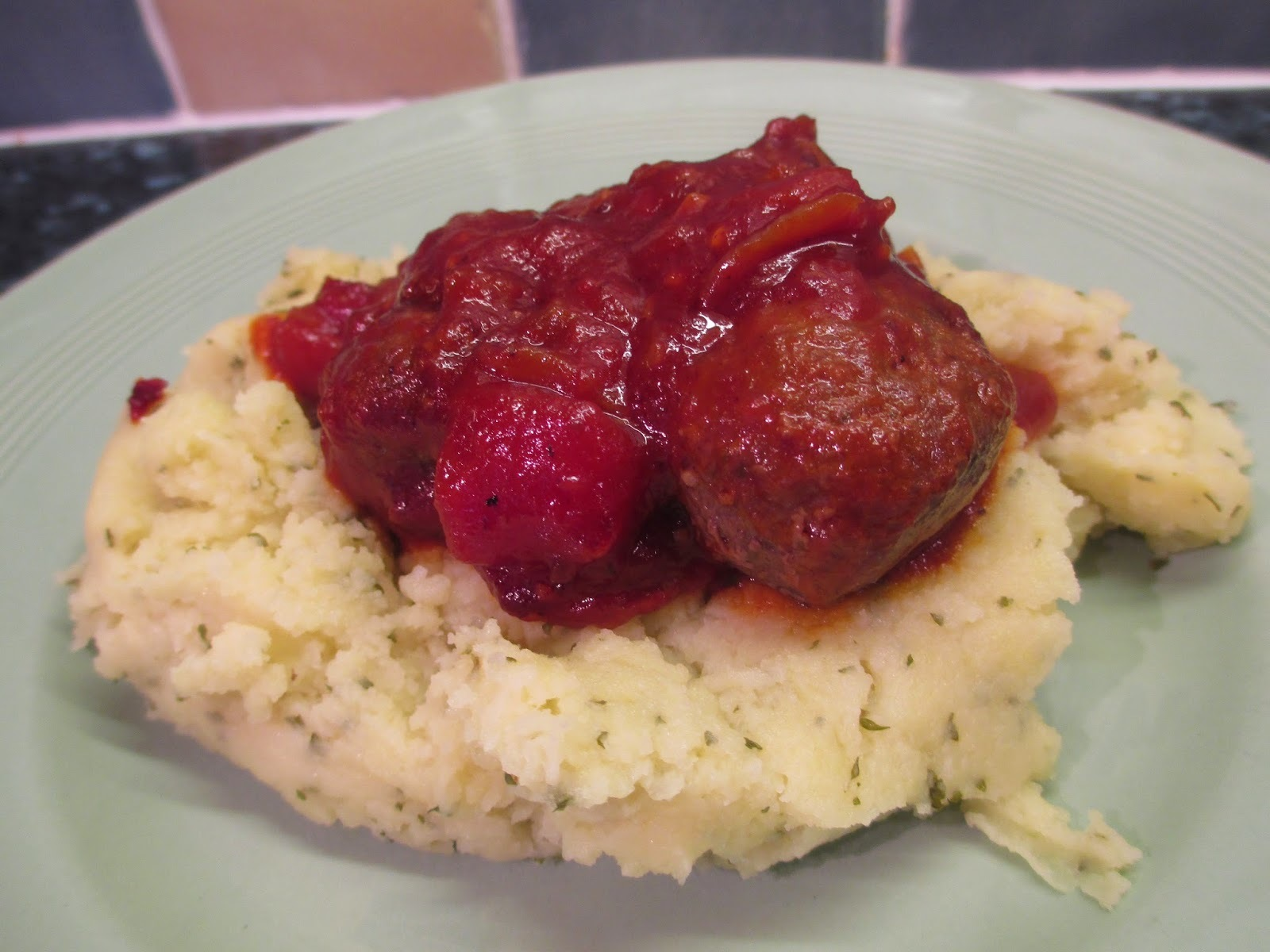 Venison meatballs in barbeque sauce with parsley mash - 78p per portion.