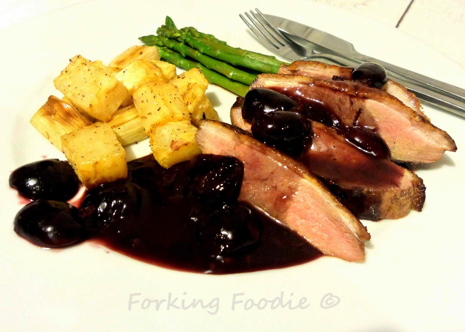 Pan Roast Duck Breast with a Cherry and Port Sauce