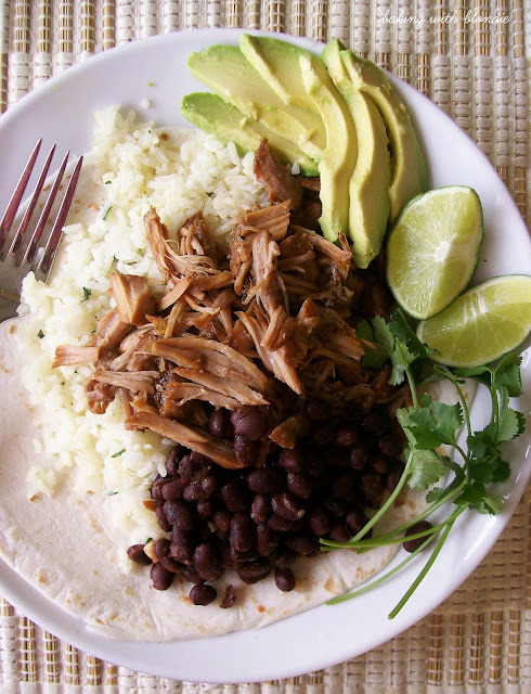 Cafe Rio Inspired Slow Cooked Sweet Shredded Pork and Cilantro-Lime Rice