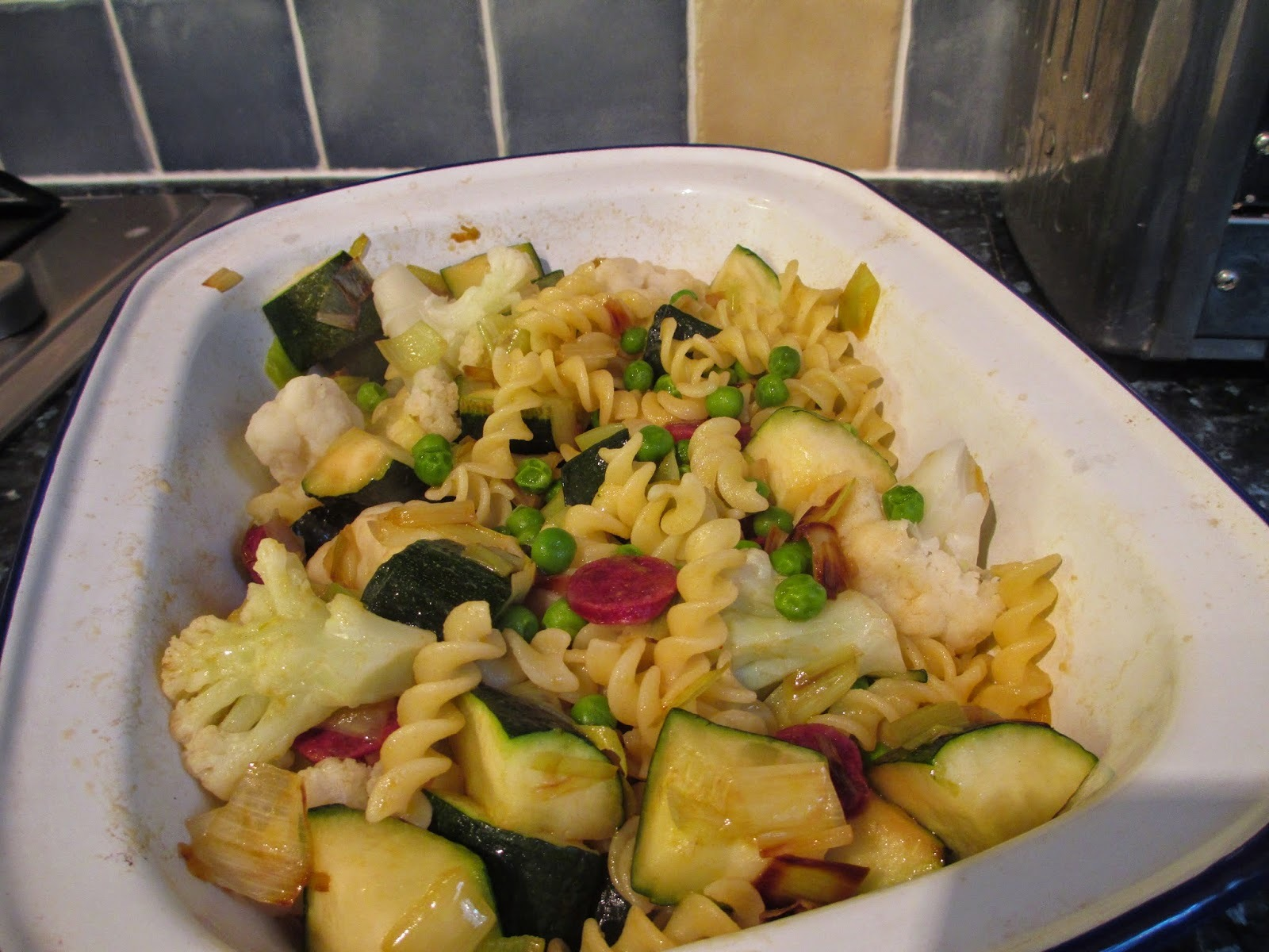 Veggie Pasta Bake with cheese sauce - Chorizo optional
