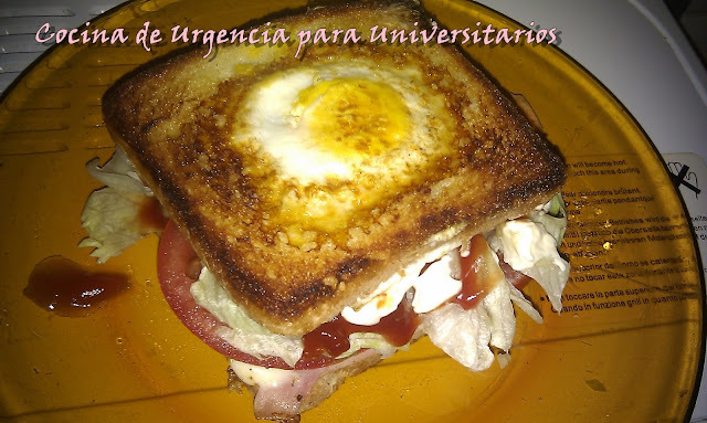 #16: SANDWICH AMERICANO UNIVERSITARIO (EGG IN A  BASKET).