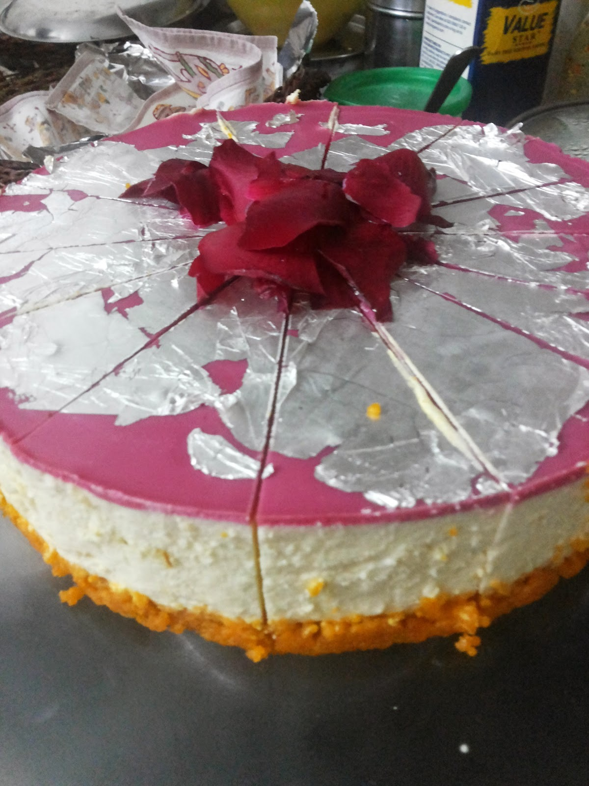 No-Bake Motichoor Ladoo Cheese Cake And a hint of Roses-Vegetarian  Fusion Dessert and Inspirations