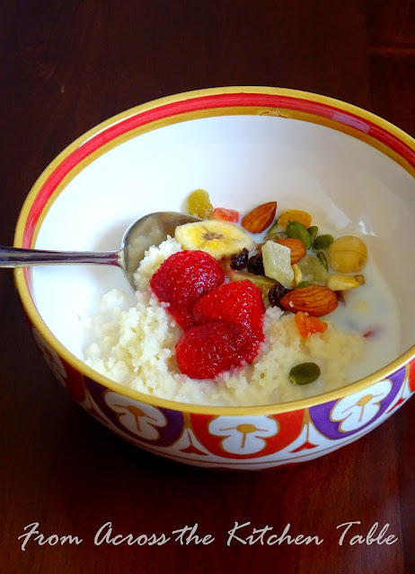 Moroccan Breakfast of Rose Water Strawberry, CousCous, Milk, Fruits and Nuts