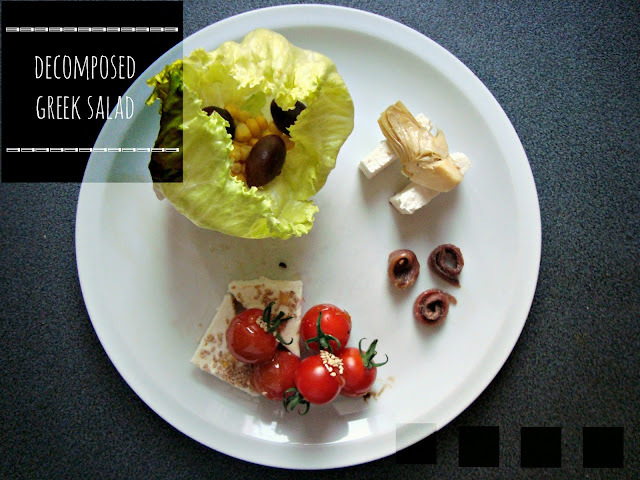 Greek decomposed salad and uncommon red finger food!