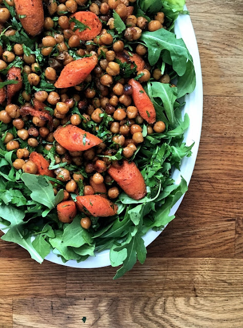 Gluten Free Roasted Cumin and Coriander Chickpea and Carrot Salad