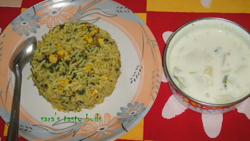 Palak ( spinach ) panner rice