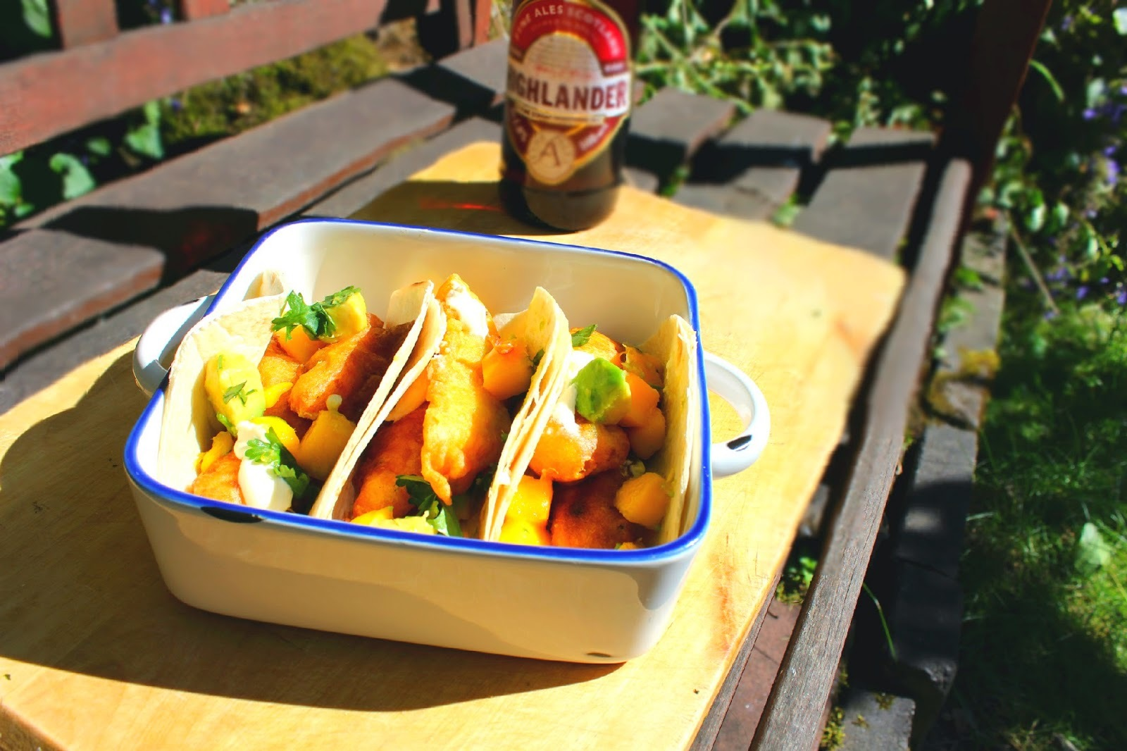 Fyne's Highland Battered Fish Tacos with Mango Salsa
