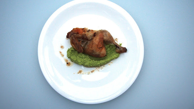 Brussels sprout purée with roast poussin