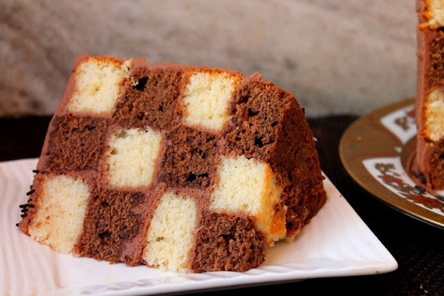 Checkerboard Cake Recipe / Vanilla & Chocolate Checkerboard Cake Recipe