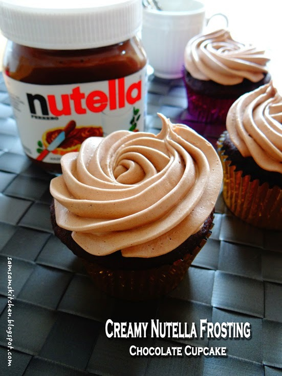 Creamy Nutella Frosting Chocolate Cupcake