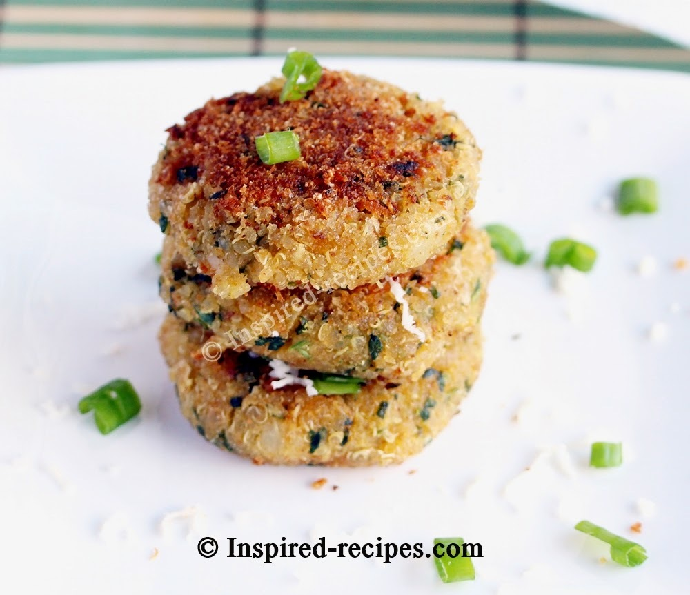Quinoa Patties with Spinach, Chickpeas and Cottage Cheese
