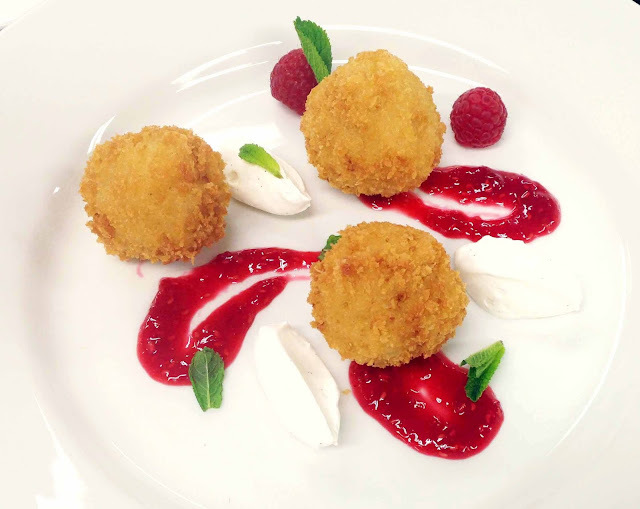 Chocolate Arancini, Raspberry Coulis, Chantilly Cream