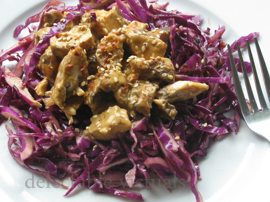 Red Cabbage Salad with Peanut Chicken