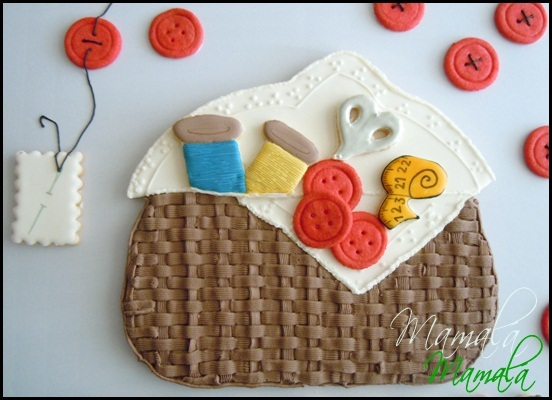 Mega-galleta decorada -costurero-