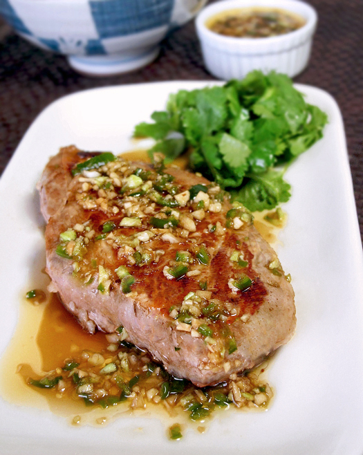 Pork with Asian garlic ginger dressing