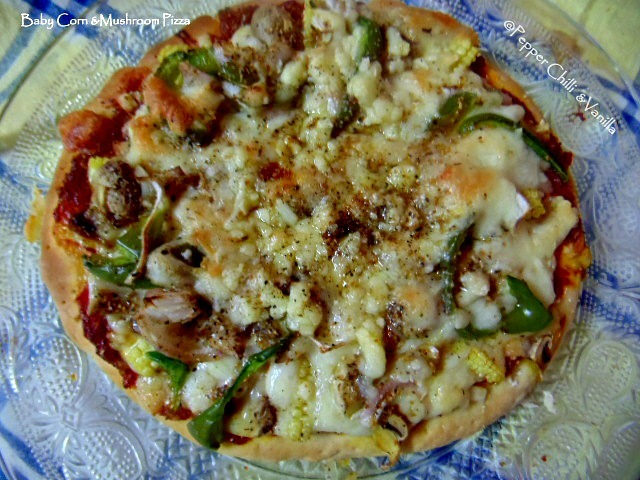 Veg Pizza/Mushroom & Baby Corn Pizza Recipe.