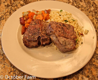 Lamb Chops with Roasted Root Vegetables and Israeli Couscous