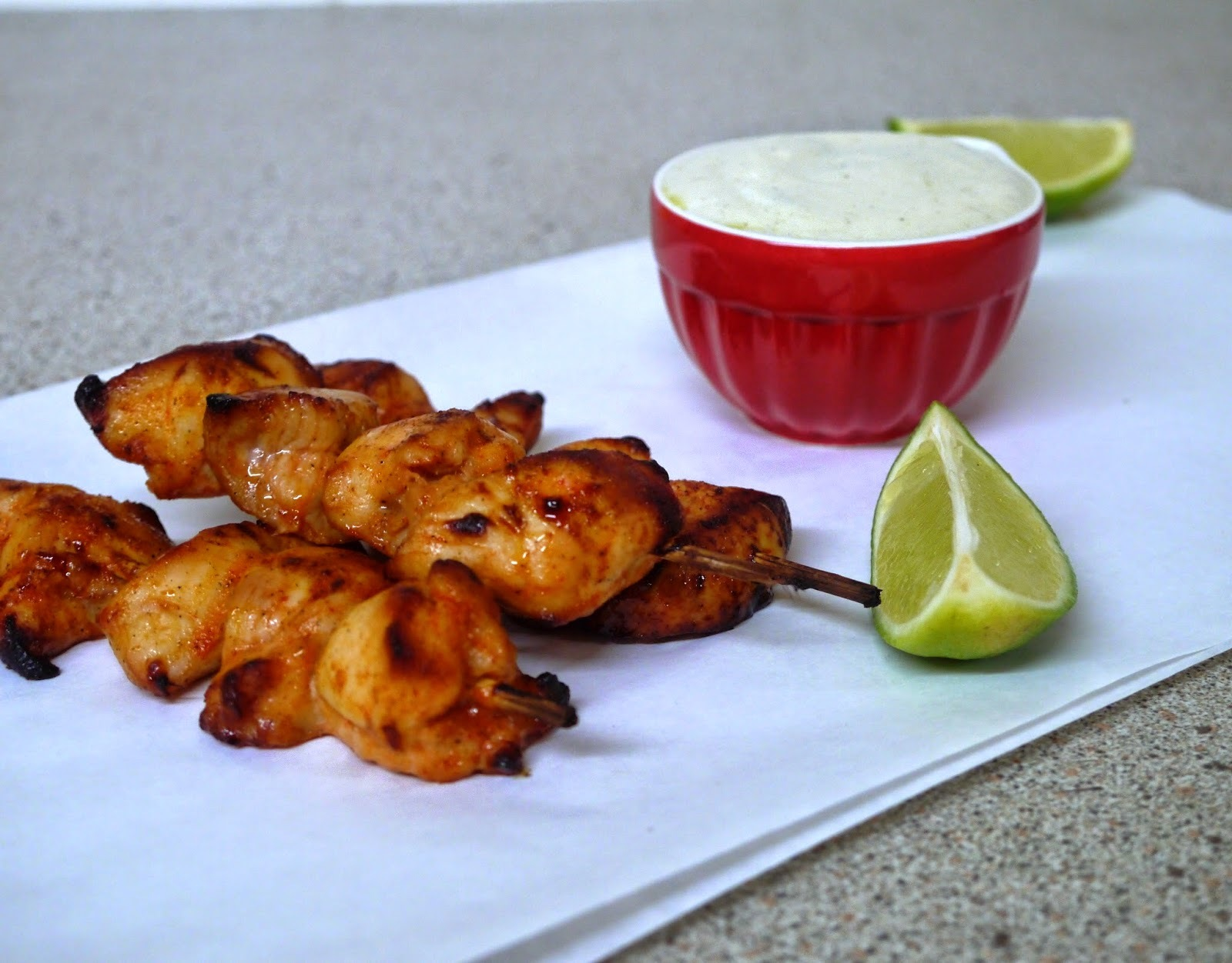 Chilli Garlic Chicken Skewers + Olive Oil Yoghurt Dip
