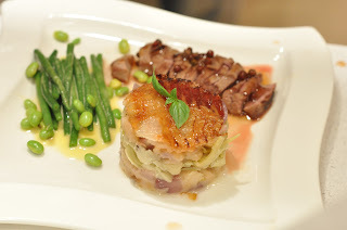 Recipe - Duck in Quince & Red Peppercorn Sauce w/ Cassoulet, Green Beans and Edamame in a Basil Emulsion