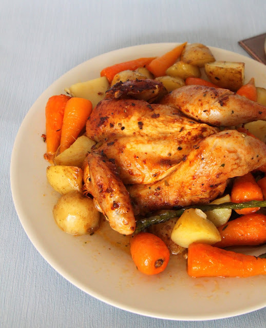 Roasted Spatchcocked Poussin with veggies