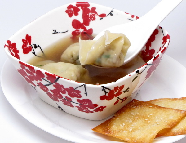 Chicken Wontons in Broth