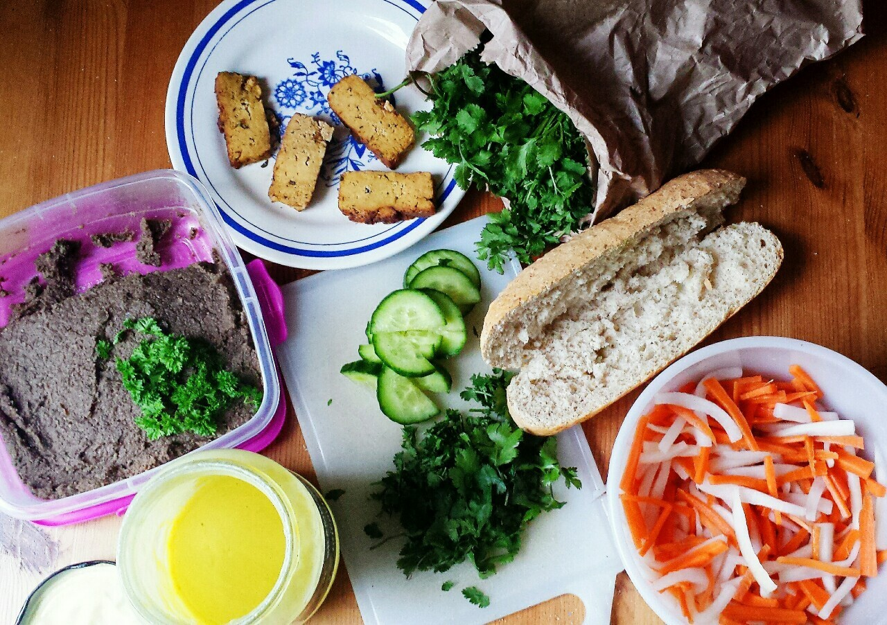 Vegan Bánh Mì Chaywith vegan pâté, mayonnaise and all the...