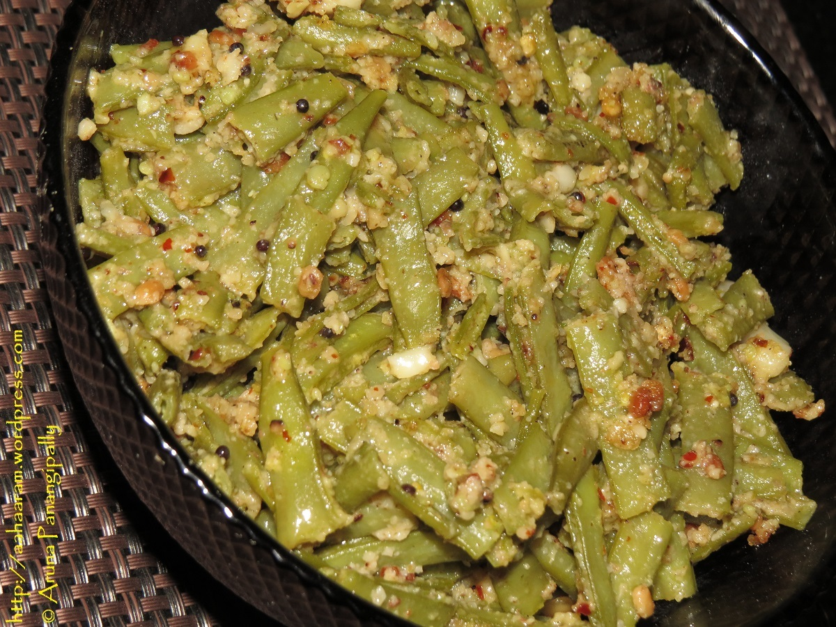 Cluster Beans with Peanuts and Garlic (Goru Chikkudikaya Koora)