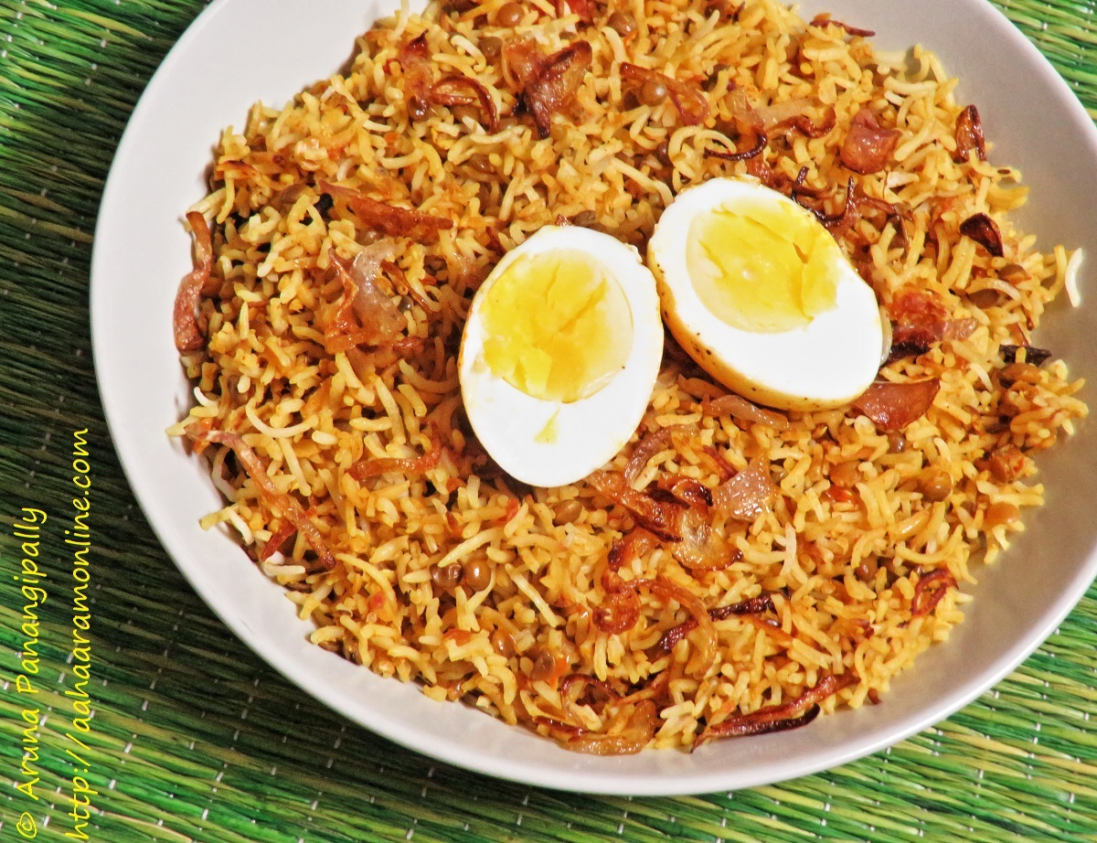 Masoor Dal and Boiled Egg Biryani