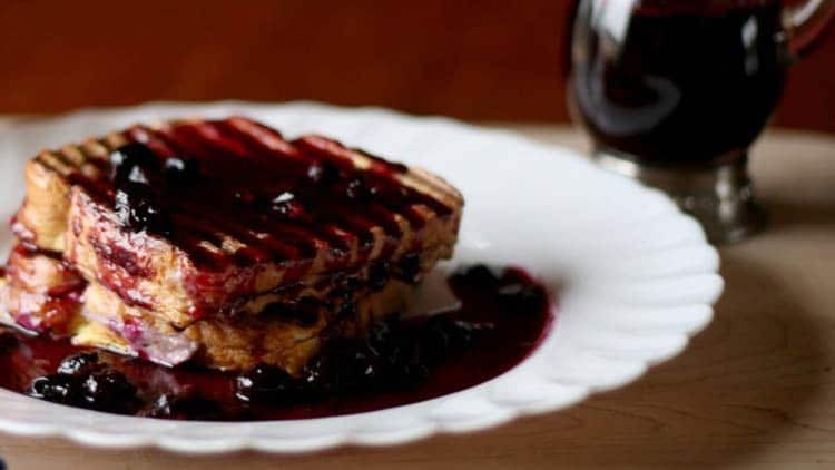 Cream Cheese French Toast with Blueberry Syrup