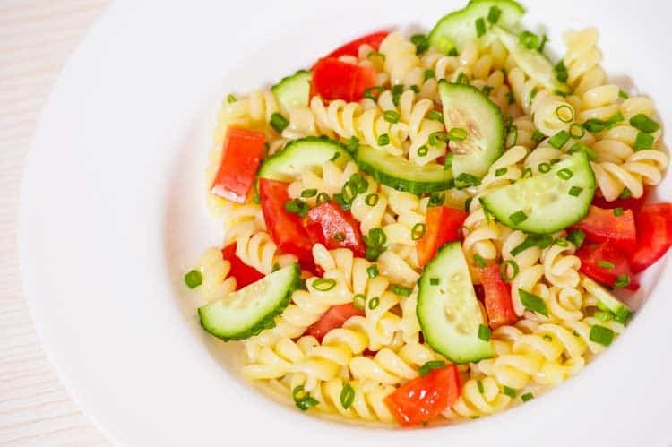 Italian Pasta Salad with Tomatoes and Cucumbers