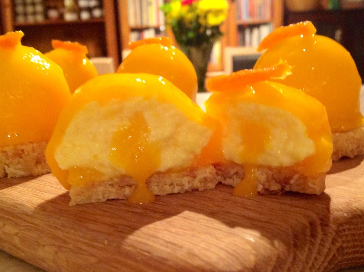 Mango & Passionfruit cheesecakes domes