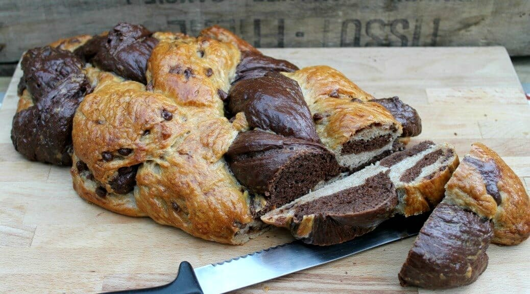 Chocolate Six-Strand Braided Challah Loaf