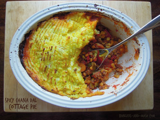 Spicy chana dal cottage pie