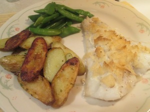 Chip-Crusted Fish Fillets w/ Fried Sliced Fingerling Potatoes, Sugar Snap Peas…