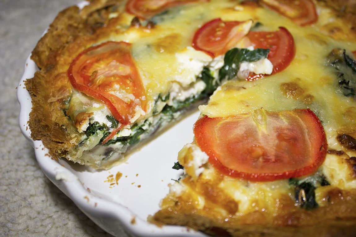 Spinach, Mushroom and Goats Cheese Quiche Recipe