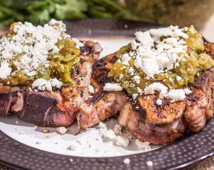 Mexican Spiced Pork Chops With Salsa Verde and Cotija