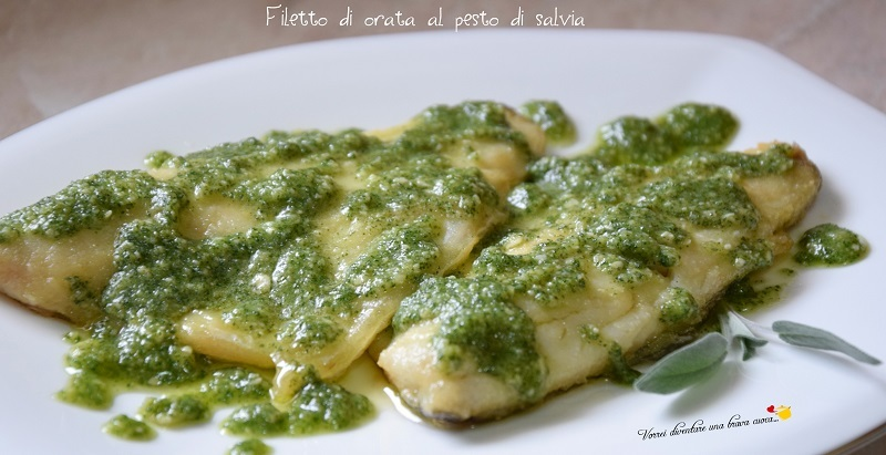 Filetto di orata al pesto di salvia