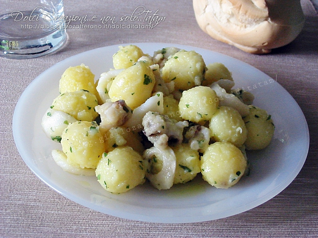 Seppie con patate in insalata, al limone