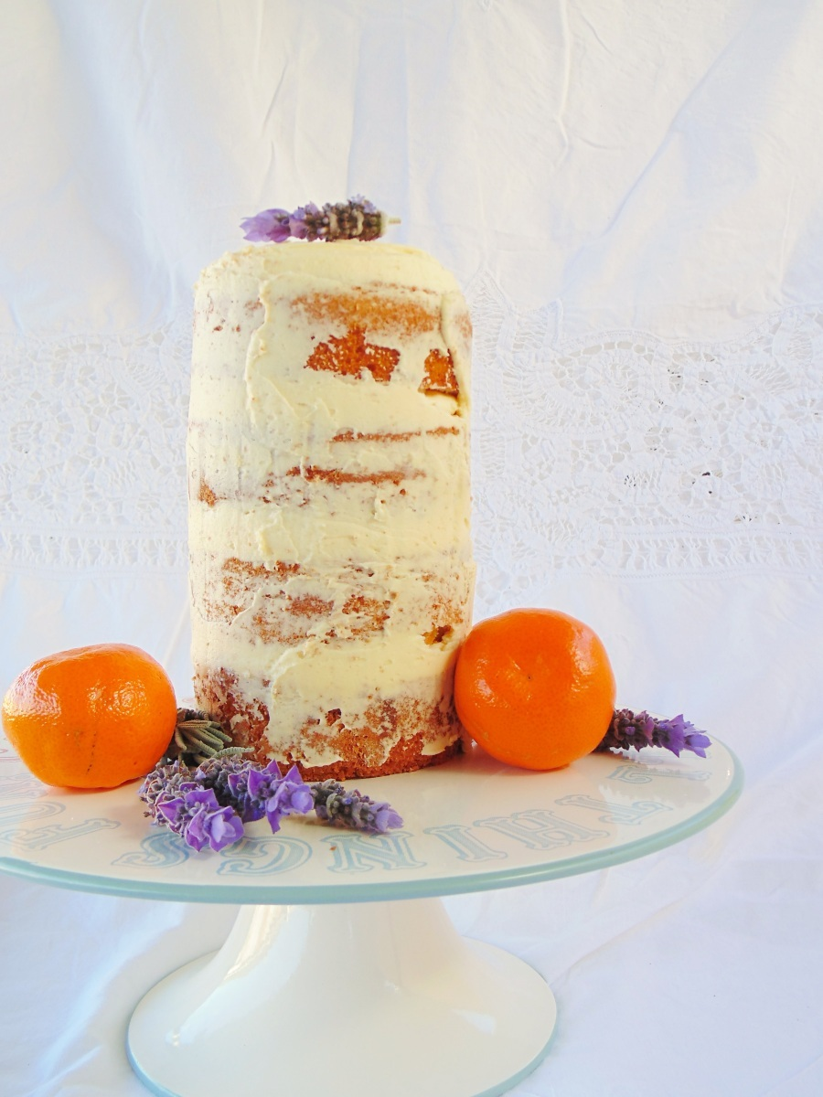 The Naked Cake: Vanilla Layer Cake with Clementines and Lavender Flowers