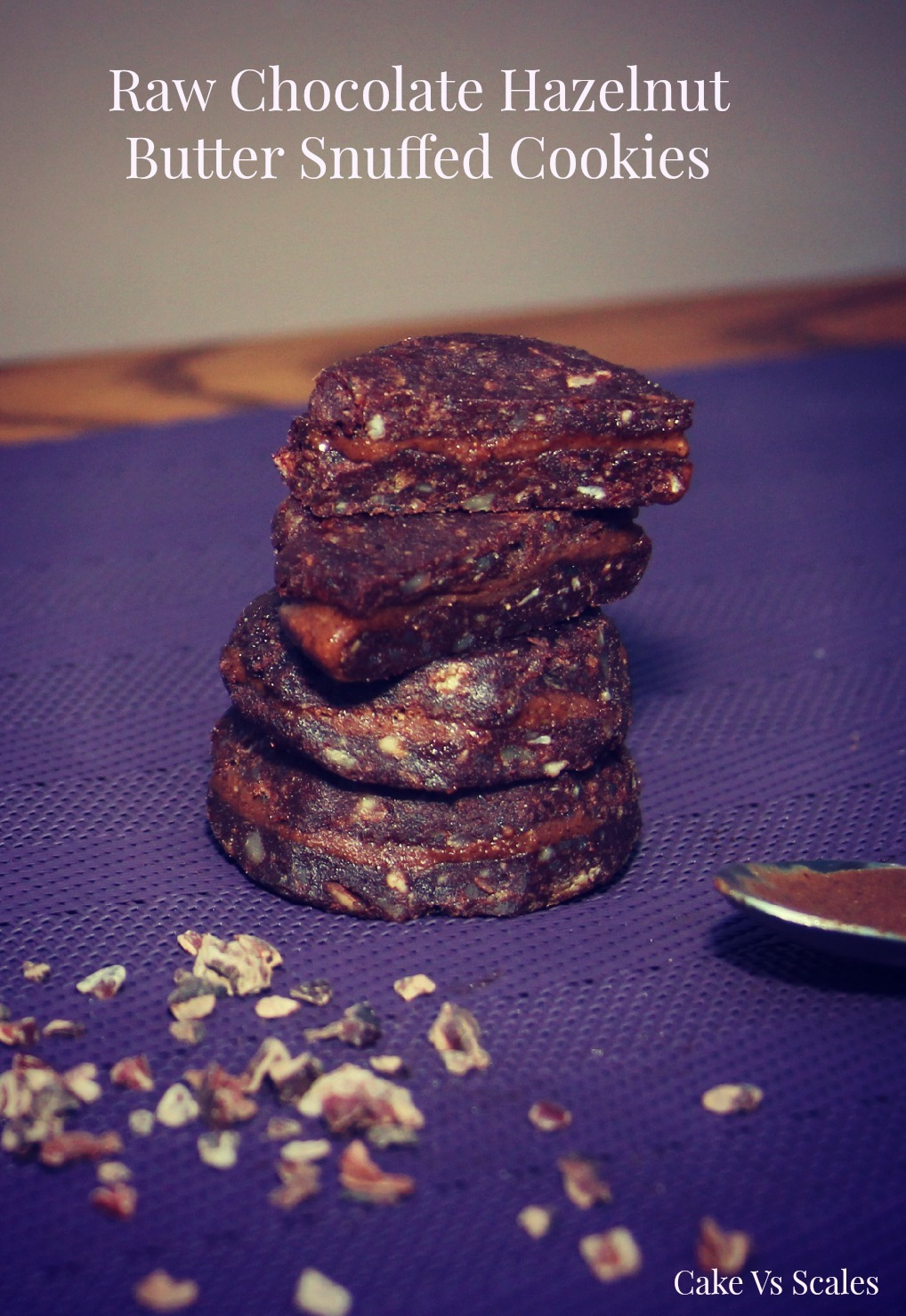 Raw Chocolate cookies with a 'Nutella' style filling