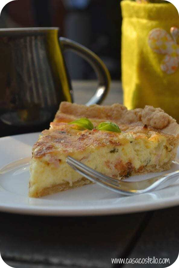 Bacon, Onion & Basil Quiche #Bakeoftheweek