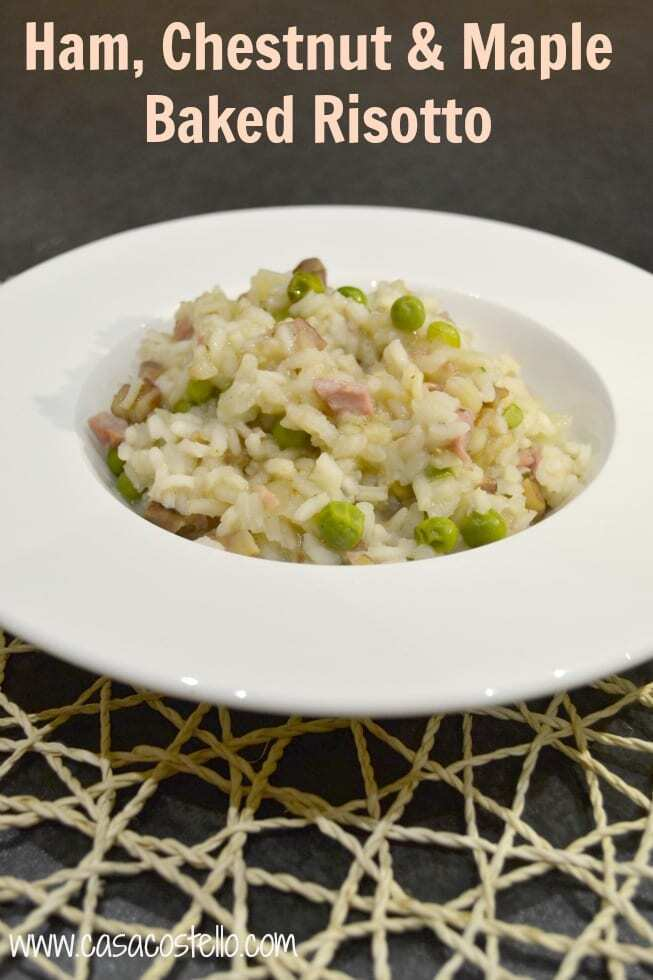 Ham, Chestnut & Maple Baked Risotto #Bakeoftheweek