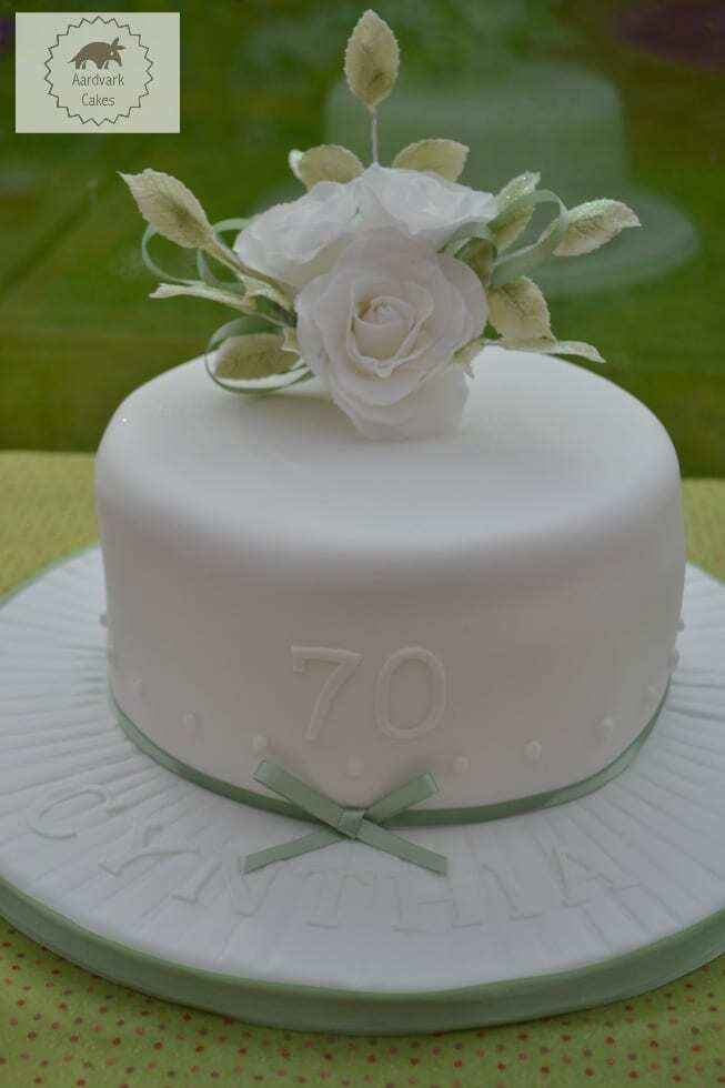 70th Birthday Cake with White Sugar Roses #BakeoftheWeek