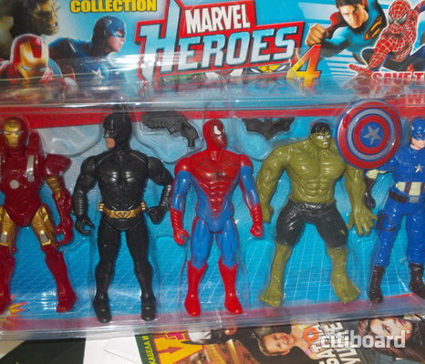 HULK, SPIDERMAN, BATMAN, CAPTIAN AMERICAN & IRONMAN 5 ST FIGURER 17 CM