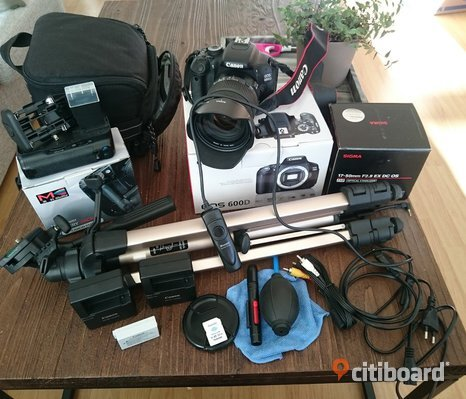 Canon 600D + Sigma 17-50mm F2.8 EX DC OS HSM + lots of accessories
