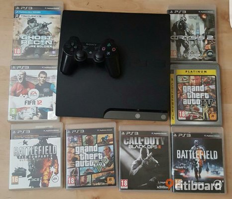 Playstation 3 slim 120gb med 8 spel