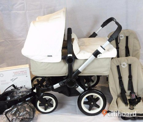 Bugaboo Donkey V1.1 Twin Duo Sand /​ Off White 2 x babyliftar Seats Double Adapter