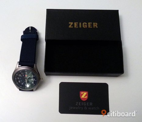Zeiger Mens Date Analog Nylon Army Military Sports Quartz Wrist Watch + Box
