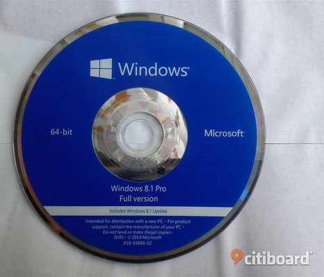 Ny Windows 8.1 professional 64 bit ny med licens key och installations dvd